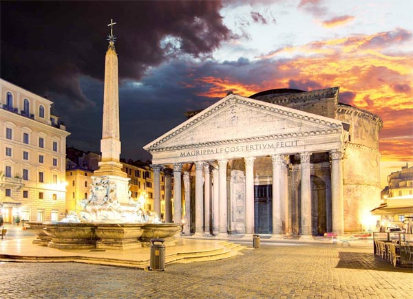 The last attraction on our tour will be the Pantheon, its unique structure establishing it as one of the most impressive architectural features of the city. It was the first pagan temple to be converted to Christianity and today is home to the tombs of the first two kings of Italy, placed here after the unification in 1861. Between them we also find the tomb of Raphael, whose work became the model of perfection in Renaissance painting, earning him a resting place in one of the most famous attractions of the city.